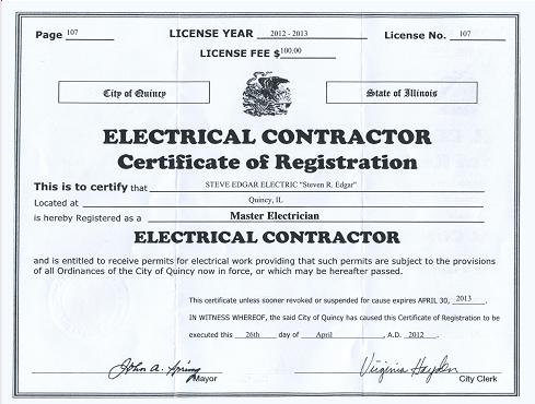 Steve Edgar Electric Electrical Certification